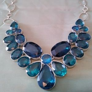 Large Deep Blue Glass Stone Necklace